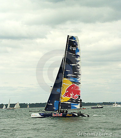 Red Bull catamaran at cowes week 3 Editorial Stock Image