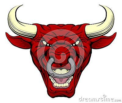 red bull mascot face stock vector image 55519949