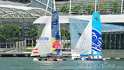 Red Bull Sailing team racing the Wave, Muscat at Extreme Sailing Series Singapore 2013 Editorial Stock Photo