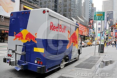 Red Bull van parked on the Broadway Editorial Photography