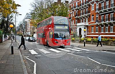 Red bus on Abbey Road Editorial Photo