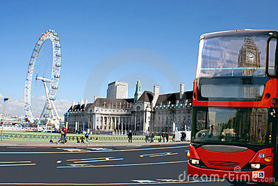 Red bus, Big Ben on London cityscape. Editorial Image