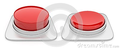 Red Button isolated on white background. Danger