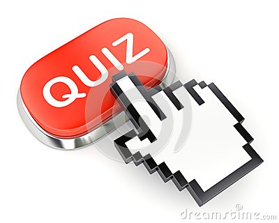 Red button QUIZ and hand cursor