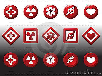 Red buttons - health signs
