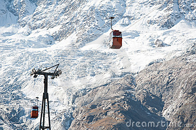 Red cabins on ski lift