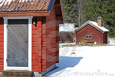 Red cabins in winter