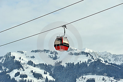 Red cable car in Alps