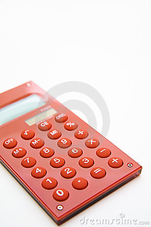 Red calculator on the white background