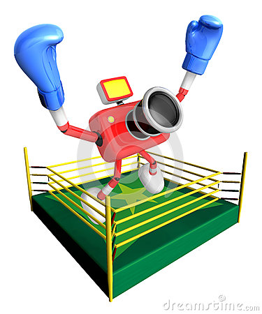 Red camera character jump in green ring. Create 3D Camera Robot