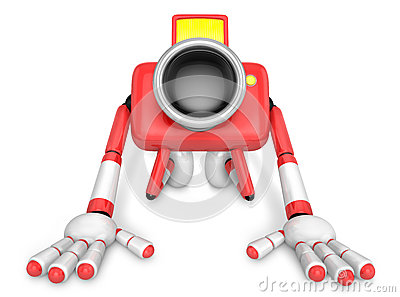 Red Camera Character kneel in prayer. Create 3D Camera Robot Ser