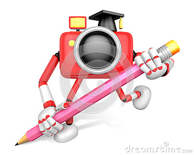 Red Camera Character pencil a handwriting. Create 3D Camera Robo