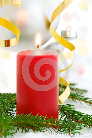 Red candle, christmas background