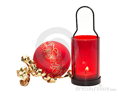 Red candle with Christmas ball