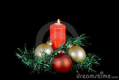 Red candle christmas decor