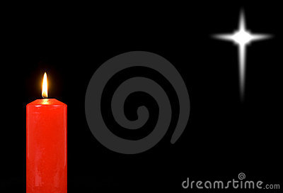 Red candle and a distant star