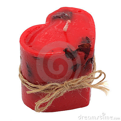 Red candle in the form of heart. Handmade.