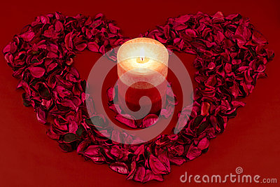 Red candle with heart