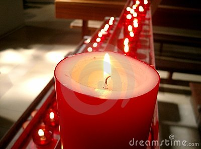 Red candles in a church