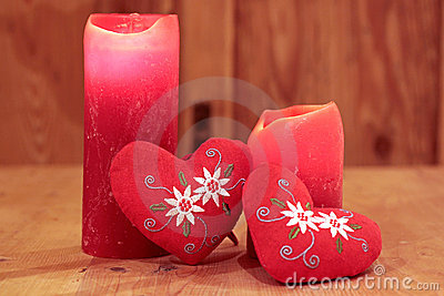 Red candles and hearts