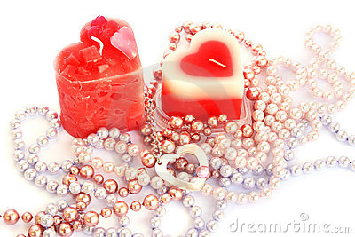 Red candles and necklaces
