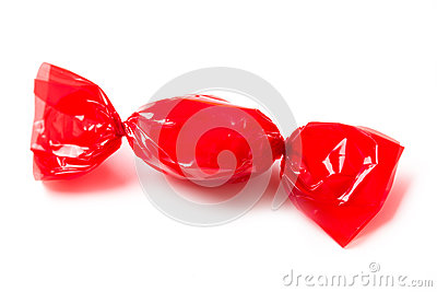 Red candy wrapped in foil