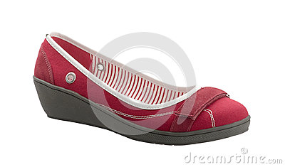 Red canvas lady shoe