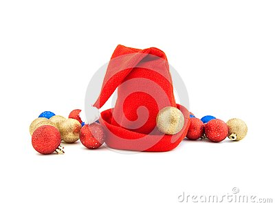 Red cap and Christmas-tree decorations