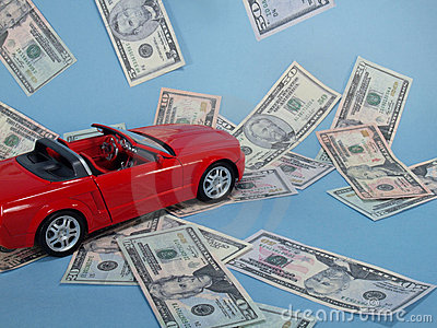 Red car with cash.