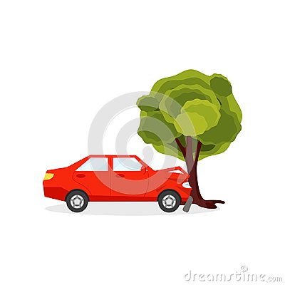 Red car crashed into big green tree. Auto accident scene. Driving safety theme. Flat vector for poster of auto service Vector Illustration