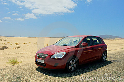 Red car in desert