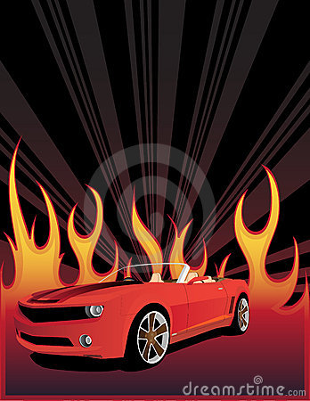 Red car on the fire background