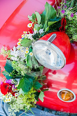 Red car with Flower Bouquet