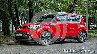 Red car Kia. Stock Photo