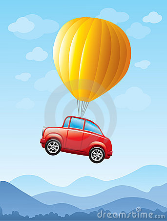 Red car lifted by balloon