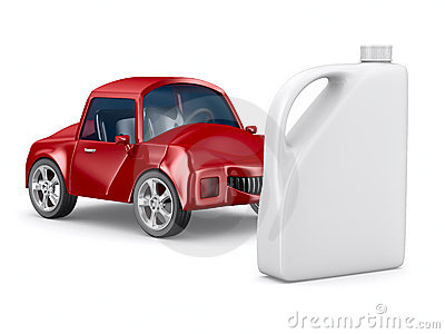Red car and oil canister on white background