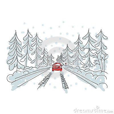 Free Red Car On Winter Road, Sketch For Your Design Stock Images - 28933884