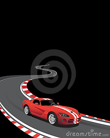 Red car on the racing track