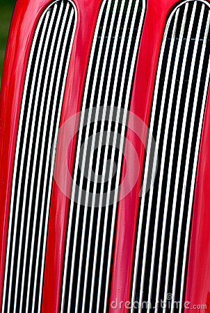 Red car radiator grill