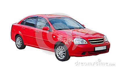 Red car on white. Isolated over white Stock Photo