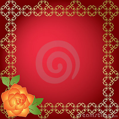 Red card with golden borders - vector