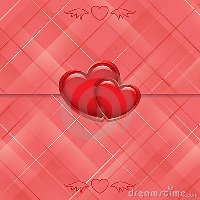 Red card sealed with hearts - vector