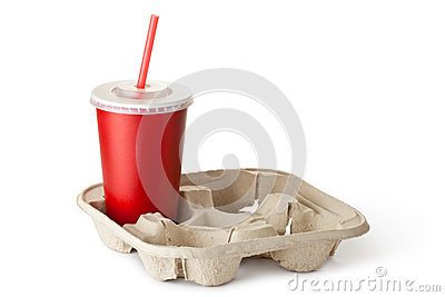 Red cardboard cup in the cup holder