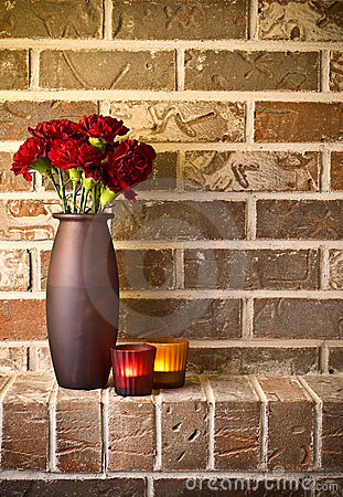 Free Red Carnations Against Brick Wall Royalty Free Stock Photo - 7976945