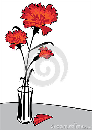 Free Red Carnations In Vase Isolated On White Backgrou Stock Photography - 29554722
