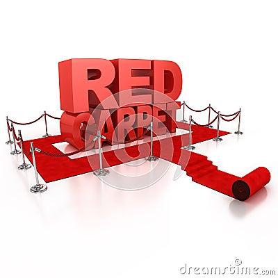 Red carpet 3d concept