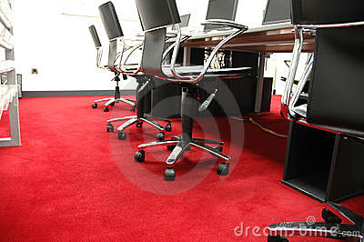 Red carpet in computer room