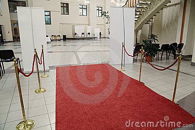 Red carpet and empty hall
