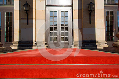 Red carpet and entrance door