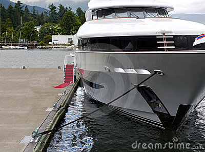 Red carpet entry to luxury motor yacht